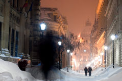 Heavy snowing in Bucharest Stock Images