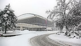 Heavy snowing in Zagreb, Croatia Stock Images