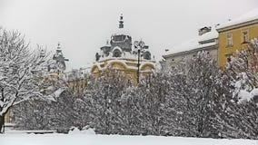 Heavy snowing in Zagreb stock video