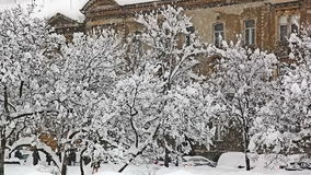 Heavy snowing in Zagreb stock video footage