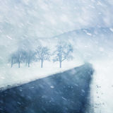 Heavy snowy winter road background Royalty Free Stock Photography