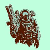 Heavy space marine. Vector illustration. Heavy space marine in suit with large plasma gun. Science fiction original character the soldier of the future. Vector Stock Photo