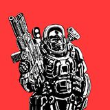 Heavy space marine. Vector illustration. Heavy space marine in suit with large plasma gun. Science fiction original character the soldier of the future. Vector Stock Photos