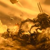 Heavy space marines fight the alien spider tank. royalty free stock photography