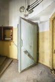 Heavy steel door in the bomb shelter Stock Photography