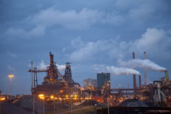 Heavy steel industry at steel factory at night Stock Image