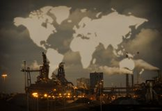 Heavy steel industry with world map Royalty Free Stock Photo