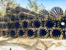 Heavy steels material for heavy construction of brigades,pillars,building,walls etc. Heavy steels raw material for heavy construction project in beautiful Royalty Free Stock Photo