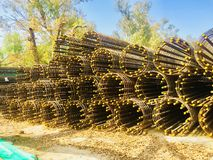 Heavy steels material for heavy construction of brigades,pillars,building,walls etc. Heavy steels raw material for heavy construction project in beautiful Stock Photo