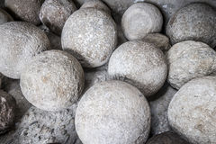 Heavy stone balls in an old building Stock Images