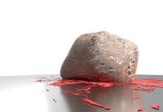 Heavy stone smash and small blood on reflective floor 3d illustration Royalty Free Stock Images