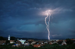 Storm. Heavy storm above small village Stock Photo