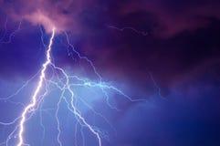 Heavy storm bringing thunder, lighnings and rain Stock Photos