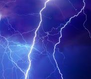 Heavy storm bringing thunder, lighnings and rain Stock Photo