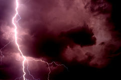 Heavy storm bringing thunder, lightnings and rain in summer Stock Photos