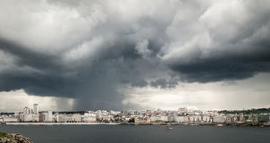 Heavy storm with rain over the city center of A Coruña, Spain. Stock Photo