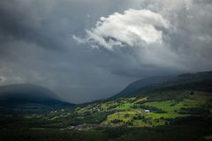 Heavy stormy sky over Dovre mountains, Norway stock images