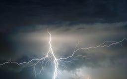 Heavy summer storm bringing thunder, lightnings and rain stock image