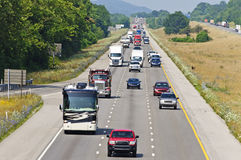 Heavy Summertime Interstate Traffic Stock Photography