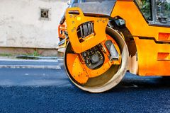 Heavy Tandem Vibration roller compactor at asphalt Royalty Free Stock Photography