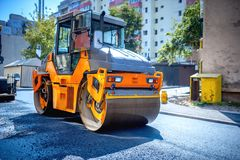 Heavy tandem Vibratory roller compactor working Royalty Free Stock Photography