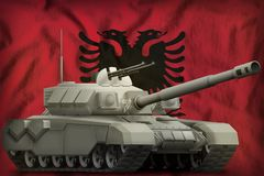 Heavy tank on the Albania national flag background. 3d Illustration. Heavy tank on the Albania flag background. 3d Illustration stock illustration