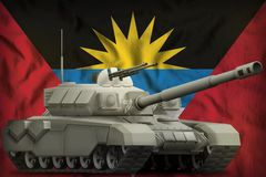 Heavy tank on the Antigua and Barbuda national flag background. 3d Illustration. Heavy tank on the Antigua and Barbuda flag background. 3d Illustration stock illustration