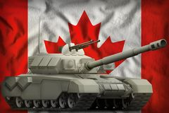 Heavy tank on the Canada national flag background. 3d Illustration. Heavy tank on the Canada flag background. 3d Illustration Stock Photo