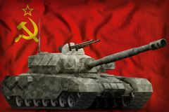 Heavy tank with city camouflage on the Soviet Union SSSR, USSR national flag background. 9 May, Victory day concept. 3d Illustra. Heavy tank with city camouflage vector illustration