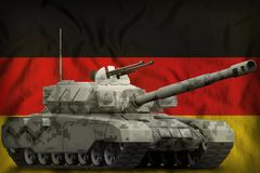 Heavy tank with city pixel camouflage on the Germany national flag background. 3d Illustration. Heavy tank with city pixel camouflage on the Germany flag royalty free illustration