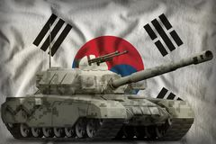 Heavy tank with city pixel camouflage on the Republic of Korea South Korea national flag background. 3d Illustration. Heavy tank with city pixel camouflage on royalty free illustration