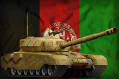 Heavy tank with desert camouflage on the Afghanistan national flag background. 3d Illustration. Heavy tank with desert camouflage on the Afghanistan flag stock illustration