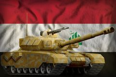 Heavy tank with desert camouflage on the Iraq national flag background. 3d Illustration. Heavy tank with desert camouflage on the Iraq flag background. 3d vector illustration