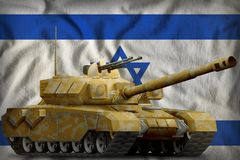 Heavy tank with desert camouflage on the Israel national flag background. 3d Illustration. Heavy tank with desert camouflage on the Israel flag background. 3d Royalty Free Stock Photo