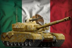 Heavy tank with desert camouflage on the Mexico national flag background. 3d Illustration. Heavy tank with desert camouflage on the Mexico flag background. 3d royalty free illustration