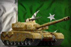 Heavy tank with desert camouflage on the Pakistan national flag background. 3d Illustration. Heavy tank with desert camouflage on the Pakistan flag background stock illustration
