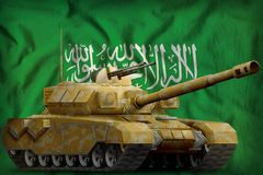 Heavy tank with desert camouflage on the Saudi Arabia national flag background. 3d Illustration. Heavy tank with desert camouflage on the Saudi Arabia flag Stock Images