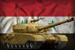 Heavy tank with desert camouflage on the Syrian Arab Republic national flag background. 3d Illustration. Heavy tank with desert camouflage on the Syrian Arab Royalty Free Stock Photography