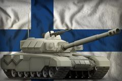 Heavy tank on the Finland national flag background. 3d Illustration. Heavy tank on the Finland flag background. 3d Illustration Royalty Free Stock Photos