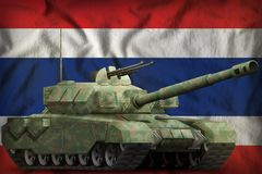 Heavy tank with forest camouflage on the Thailand national flag background. 3d Illustration. Heavy tank with forest camouflage on the Thailand flag background royalty free illustration