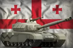Heavy tank on the Georgia national flag background. 3d Illustration. Heavy tank on the Georgia flag background. 3d Illustration stock illustration