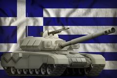 Heavy tank on the Greece national flag background. 3d Illustration. Heavy tank on the Greece flag background. 3d Illustration stock illustration