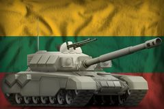 Heavy tank on the Lithuania national flag background. 3d Illustration. Heavy tank on the Lithuania flag background. 3d Illustration royalty free illustration