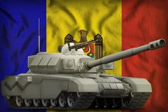 Heavy tank on the Moldova national flag background. 3d Illustration. Heavy tank on the Moldova flag background. 3d Illustration stock illustration