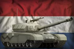 Heavy tank on the Netherlands national flag background. 3d Illustration. Heavy tank on the Netherlands flag background. 3d Illustration stock illustration