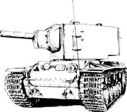 The heavy tank is painted with ink. He tank is painted with ink on a white background Royalty Free Stock Images