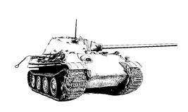 The heavy tank is painted with ink. The tank is painted with ink on a white background Stock Photography