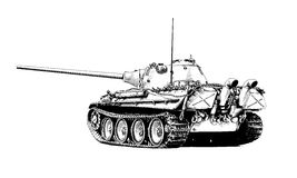 The heavy tank is painted with ink. He tank is painted with ink on a white background Stock Photos