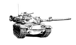The heavy tank is painted with ink. The tank is painted with ink on a white background Stock Image