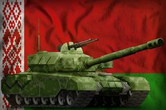 Heavy tank with pixel forest camouflage on the Belarus national flag background. 3d Illustration. Heavy tank with pixel forest camouflage on the Belarus flag royalty free illustration